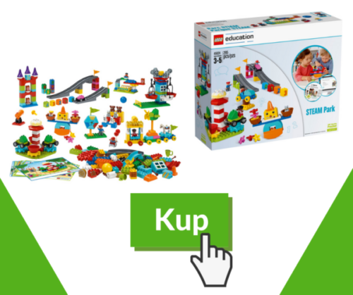 Zdjecie call to action, zachęcające do kupna zestawu Lego Duplo STEAM Park, skupiający się na rozwijaniu umiejętności STEAM.